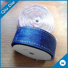 Custom Wholesale Heat Transfer Impresso Grosgrain Ribbon Blue
