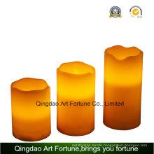 Flameless Pillar Candle with Waved Top-Set of 3