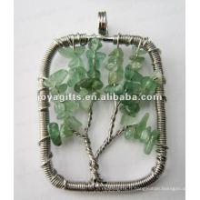 Green Aventurine Chip Stone Beads Pendentif arbre chanceux
