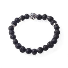Volcano Stone 8MM Bead Lion-Head Gemstone Bracelet