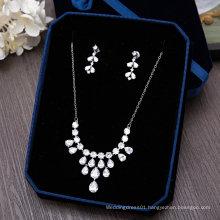 Wedding Bridal Silver Crystal Rhinestone Necklace Set