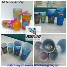 Taza plástica de los PP de la impresión lenticular del efecto 3D
