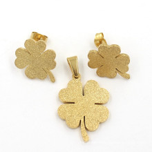 Fine Quality Lucky Clover Gold Plated Fashion Women Jewelry Set