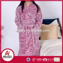 Factory wholesale zebra cut pattern flannel fleece bathrobe women sleepwear