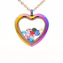 Großhandel Mode-Design Herz geformt Glas Medaillon Anhänger Schmuck