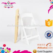 Chaise pliante à usage professionnel en bois avec siège rembourré en vinyle