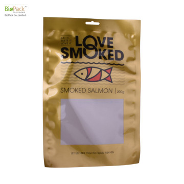 2020 Food Grade Heat Seal Cetak Kustom Nylon Vacuum Plastic Food Packing Bags untuk 200g Salmon