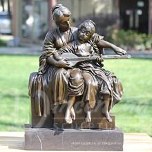 Estátua de bronze de mãe e filho BS096A