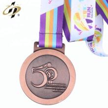 2018 alliage de zinc font de l'or et du ruban de bronze * médaille de course en métal bronze