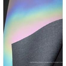 Фабрика Китая подгоняли флэш Радуга цвета светоотражающий материал переливающейся ткани PU материал