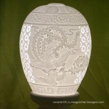 2016 новые поступления романтический стол керамический абажур, чистый белый оттенок хрусталя