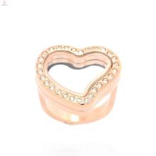 Розовое золото сердце дизайн формы ювелирные изделия нержавеющей стали кольца для женщин, золото кристалл ювелирные изделия кольца