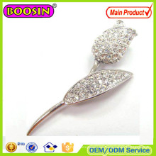 Broche de plata con tulipán de cristal australiano brillante Broche magnético de plata