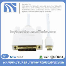 1.8m White Mini DP to DVI Cable Adapter For Mac Pro