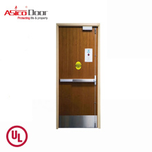 ASICO UL Listed Solid Wood Fire Rated Timber Hotel Interior Flush Door For Commercial