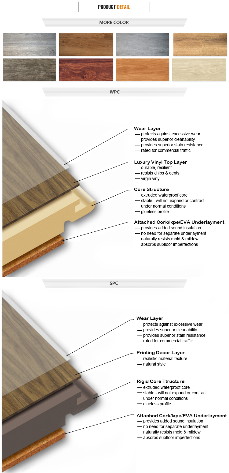 Free sample wood look SPC vinyl flooring