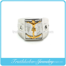 Vacuum plaitng gold stainless steel man jesus on cross finger rings titanium steel men casting ring fashion men religion jewelry