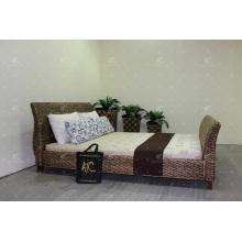 Lit élégant en jacinthe d'eau pour meubles en osier à la chambre à coucher