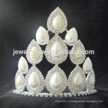 Оптовые хорошие продажи принцесса большой белый горный хрусталь свадьба конкурса короны и тиары