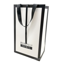 Custom Luxury White Card Gift Paper Shopping Clothes Bag Printed and Matte or Glossy Lamination with Ribbon Handle