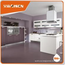 Mueble de cocina de madera de alta calidad Cocina de membrana de PVC de color de madera