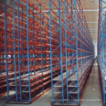 solutions de stockage d'entrepôt racks de rayonnage d'allée étroite