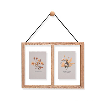 Natural MDF Moulding  2 Pictures Floating Wooden Wall Hanging Double Sided Glass Photo Frame