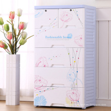 fashion Flower Design Plastic Drawer Cabinet (206055)