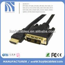 Bonne qualité 18 + 1 DVI TO HDMI CABLE AVEC PLAQUE D'OR