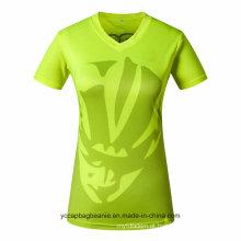 Senhoras por atacado ou mulheres Jersey com decote em v camisetas