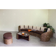 C forma Poly Rattan Wicker Sala de estar conjunto Muebles de interior (Acacia marco de madera, tejido a mano por mimbre de mimbre)