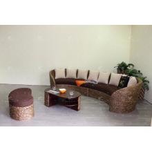 Forma C de poliuretão de vime Conjunto de sala de estar Móveis de interior (moldura de madeira de acácia, tecida à mão por jacinto de vime)