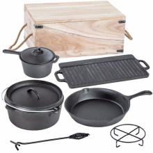 7PCS Cast Iron Camping Cookware Sets