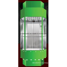 Ascensor panorámico de forma cuadrada con sala de máquinas