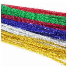 Goldener PVC-Glitter-Chenille-Stiel, Chritmas-Dekoration, goldene Goldapfeldekoration