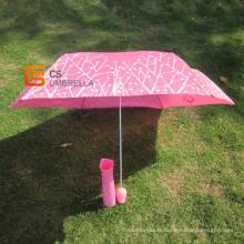 Tissu nacré Rose forme poignée bouteille parapluie (YSB003B)