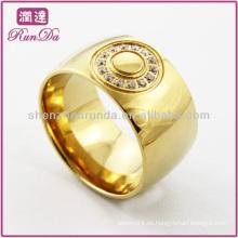 Anillo chapado en oro anillo de dedo grande con cristal