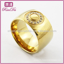 gold plated ring big finger ring with crystal