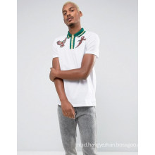 Embroidery Polo Shirt with Bird Embroidery and Metallic Tipped Collar