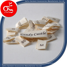 Étiquettes principales de coton d'étiquette imprimée par marque / étiquettes de taille