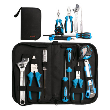 FIXTEC 8PCS Mechanical Hand Tools Set With Combination Pliers, Nose Pliers, Wrench, Screwdriver, Knife