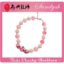 Beautiful Handmade Clay Flower Pearl Ball Pink Bead Girls Chunky Necklace