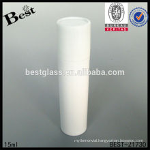 15ml white cosmetic roller ball bottle with white cap, empty roll on cosmetic bottle, plastic bottle with roller