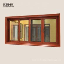 Fenêtre coulissante en aluminium de réception en verre teinté et en verre