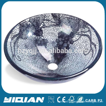 Home Beautiful Glass Bowl Double Layer Glass Sink for Bathroom Vanity New Design Tempered Glass Kitchen Sink