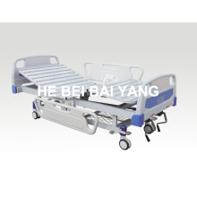 (A-55) -- Movable Double-Function Manual Hospital Bed with ABS Bed Head