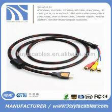 Haute qualité Red Nylon Net 5 FT 1.5M Câble HDMI vers AV Câble audio vidéo 3RCA