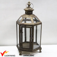 Rustic Glass Windows Metal Vintage Candle Hanging Lantern