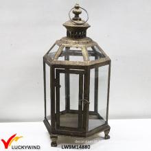 Rústico, vidro, janelas, metal, vela, penduradas, lanterna
