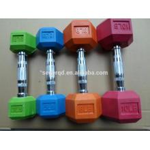 mancuernas hexagonales de goma de color en kg o lb